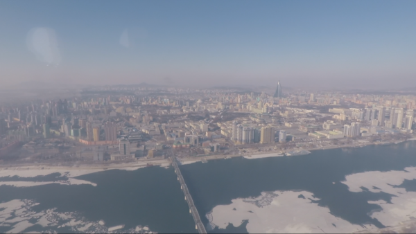 View of Pyongyang from helicopter